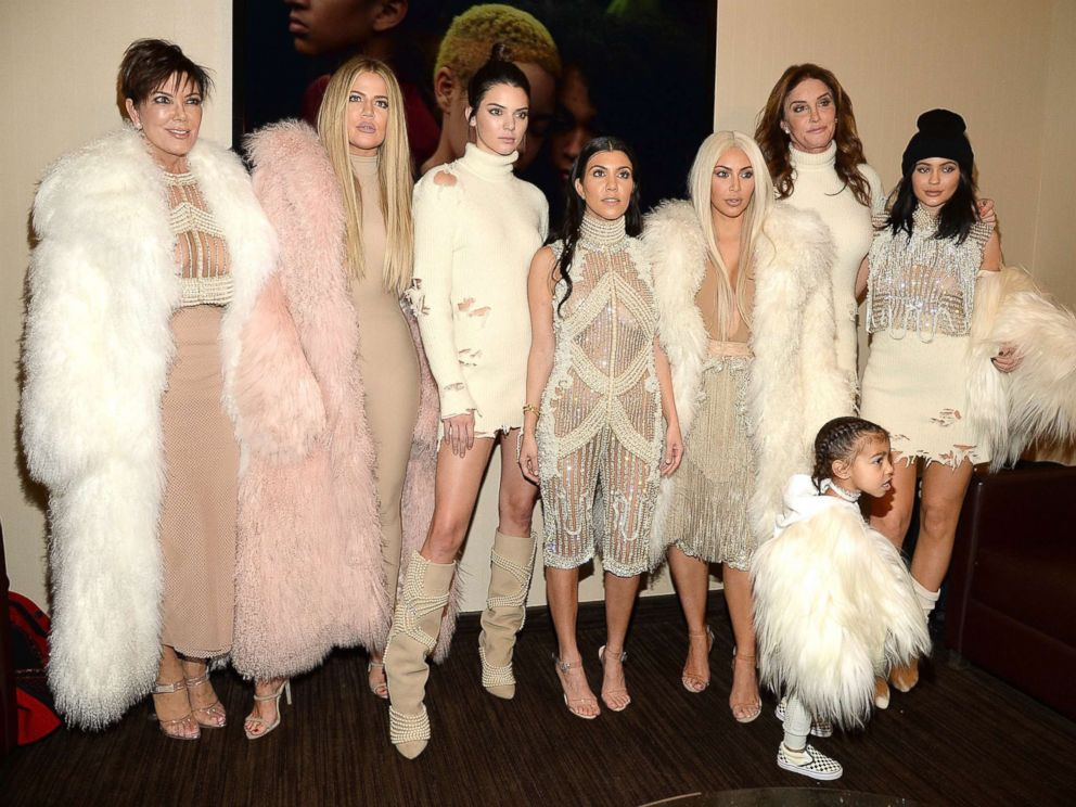 PHOTO: Khloe Kardashian, Kris Jenner, Kendall Jenner, Kourtney Kardashian, Kim Kardashian West, North West, Caitlyn Jenner and Kylie Jenner aid Kanye West Yeezy Season three at Madison Sq. Garden on Feb. 11, 2016 in New York Metropolis.