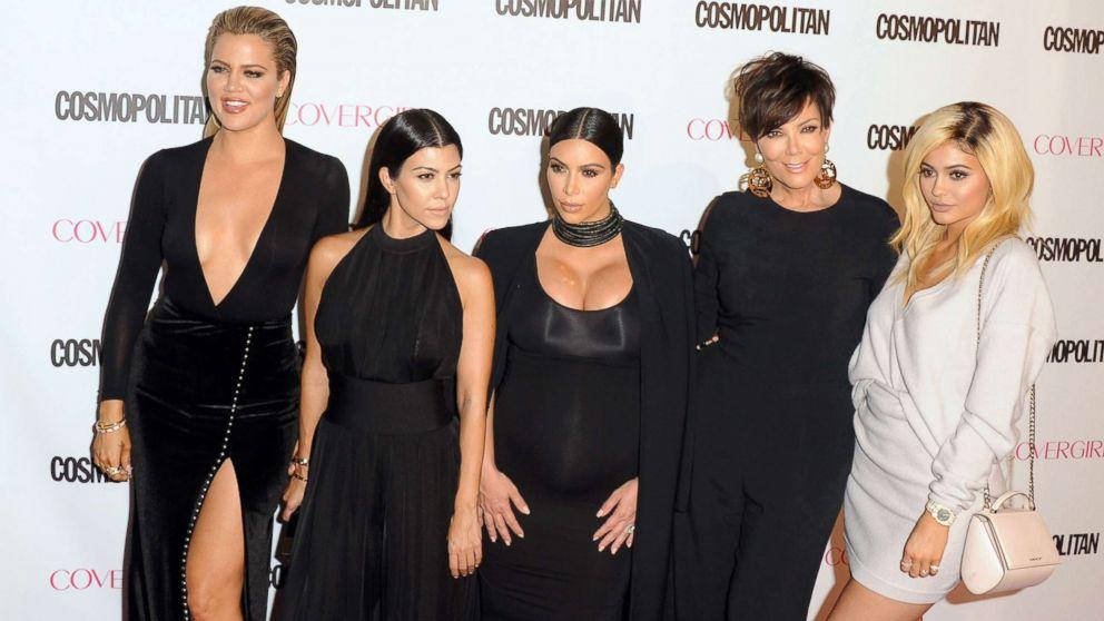 In this 2015 file photo Khloe Kardashian, Kourtney Kardashian, Kim Kardashian West, Kris Jenner and Kylie Jenner arrive at Cosmopolitan Magazine's 50th Birthday Celebration at Ysabel, Oct. 12, 2015, in West Hollywood, Calif.