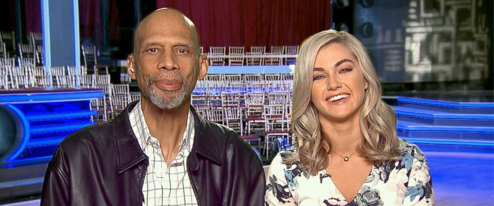 "PHOTO: Kareem Abdul-Jabbar and his dance partner Lindsey Arnold talk to ""GMA"" after being eliminated."