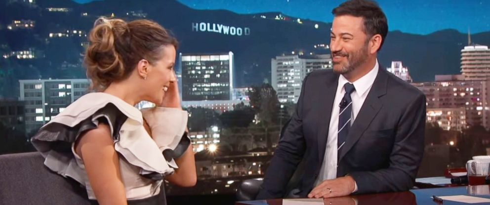 "PHOTO: Kate Beckinsale appears on ""Jimmy Kimmel Live!"" Aug. 1, 2017."