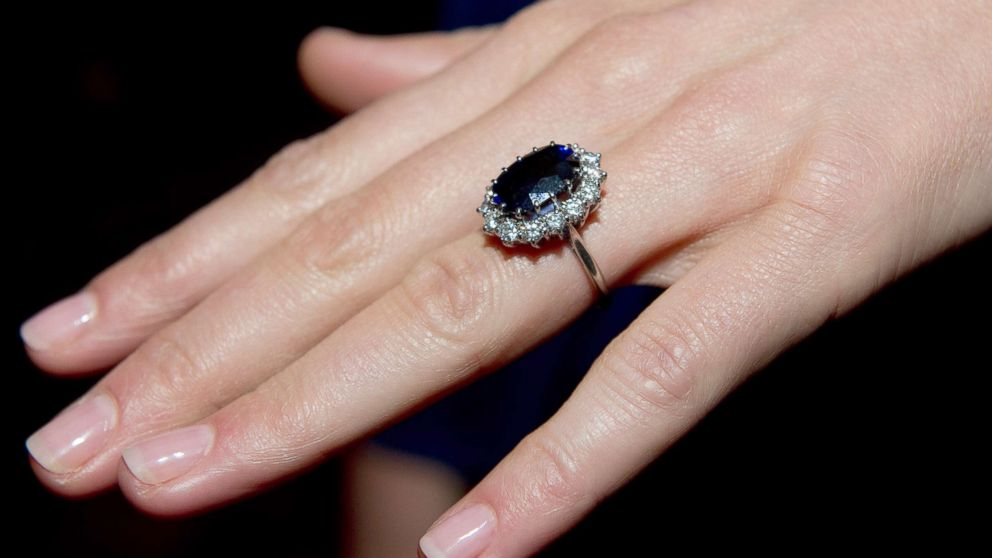 A close up of Kate Middleton's engagement ring as she poses for photographs in the State Apartments with her fiance Prince William of St James Palace, Nov. 16, 2010, in London.