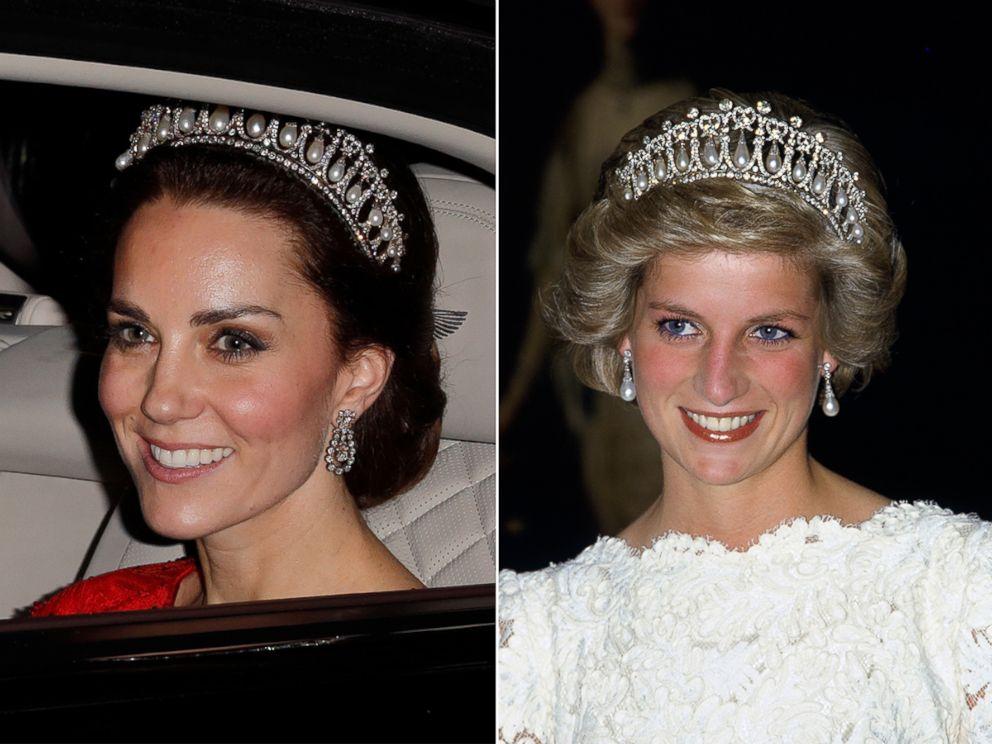 PHOTO: Katherine, Duchess of Cambridge departs at Buckingham Palace on Dec. 8, 2016 in London. Diana, Princess of Wales wears the Cambridge Knot Tiara at the British Embassy in Washington, Nov. 11, 1985.