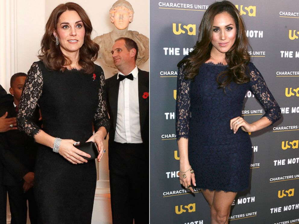 PHOTO: Britains Kate, the Duchess of Cambridge, at the 2017 Gala Dinner for The Anna Freud National Centre for Children and Families, in London, Nov. 7, 2017 | Meghan Markle at the Characters Unite/Moth Storytelling Event in Los Angeles, Feb. 15, 2012.