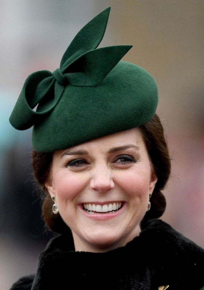 PHOTO: Catherine, Duchess of Cambridge attends the annual Irish Guards St Patricks Day Parade at Cavalry Barracks on March 17, 2018 in Hounslow, England.