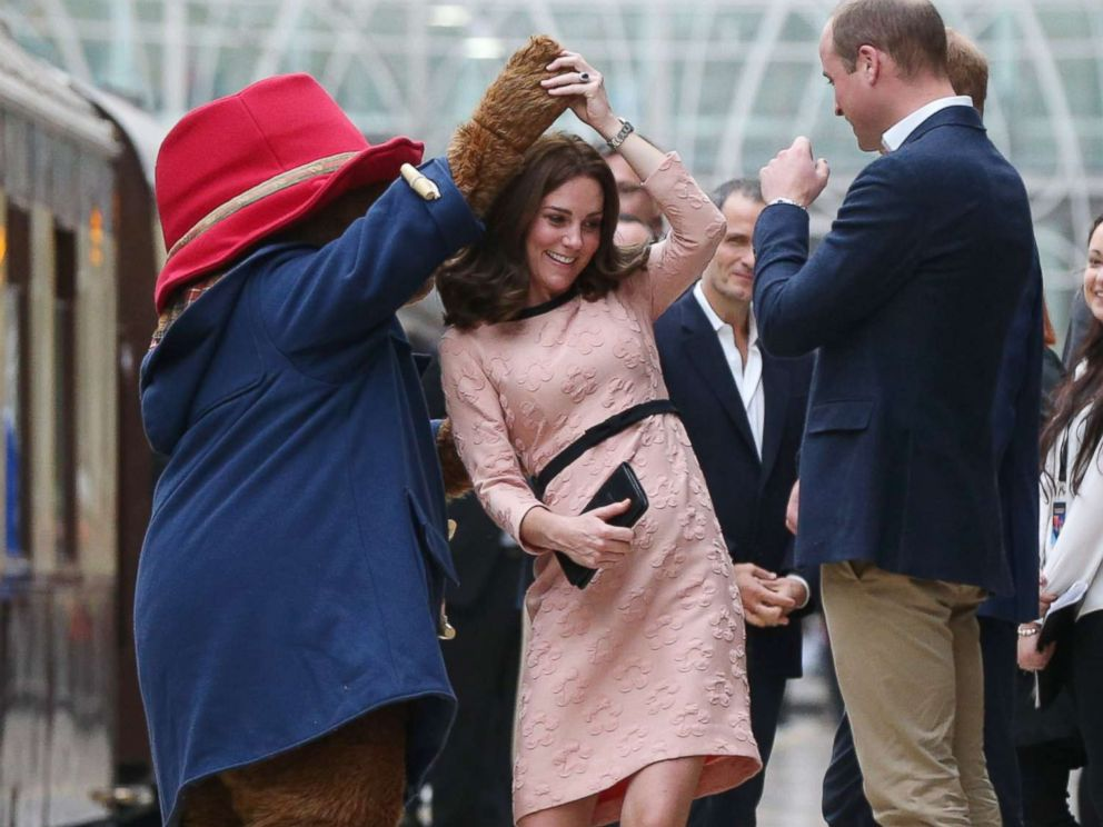 PHOTO: Catherine, Duchess of Cambridge dances with Paddington bear on platform 1 at Paddington Station as she meets the cast and crew from the forthcoming film Paddington 2 at Paddington Station on Oct. 16, 2017.