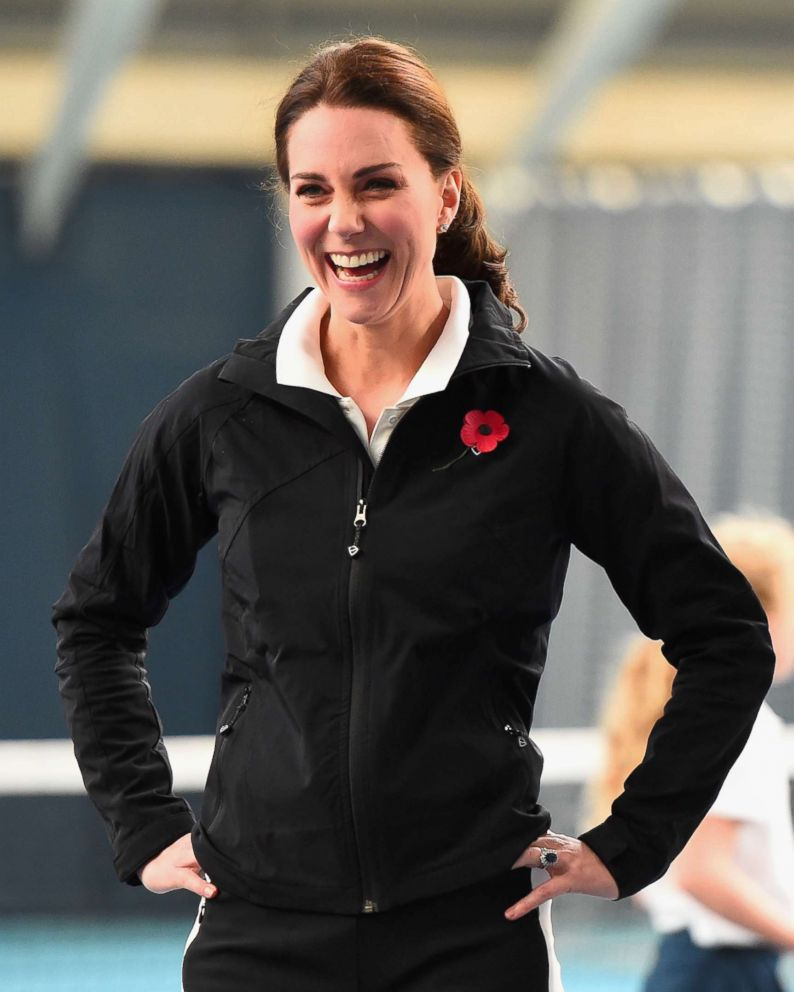 PHOTO: Catherine, Duchess of Cambridge stands on a tennis court at the Lawn Tennis Association in London, Oct. 31, 2017.