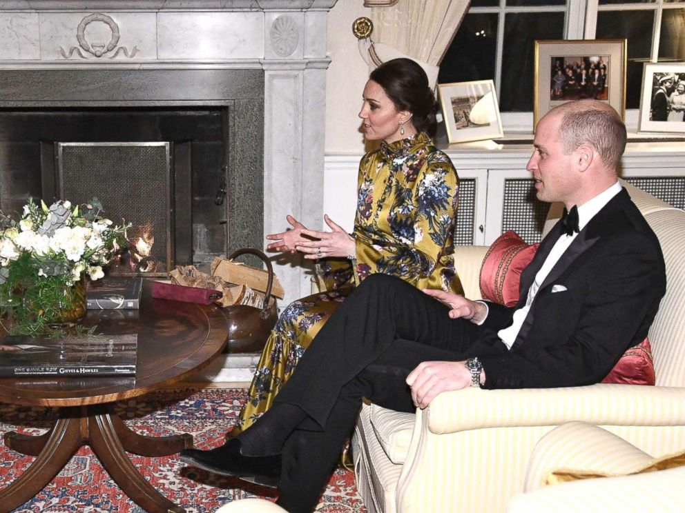 PHOTO: Talking prior to an official dinner, from right to left, Britains Prince William, Kate Duchess of Cambridge talk to Swedens Prime Minister Stefan Lofven and his wife Ulla Lofven at the British ambassadors residence in Stockholm, Jan. 30, 2018.
