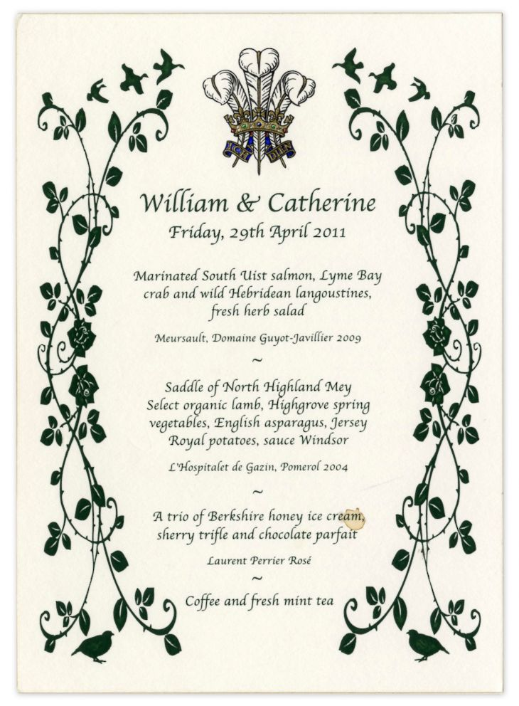 PHOTO: The menu for Kate and Williams Royal Wedding, which later was sold at auction from Nate D. Sanders Auctions.
