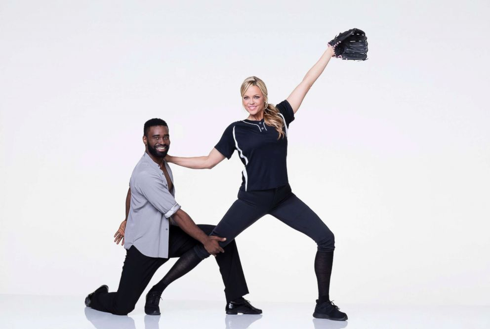 PHOTO: Jennie Finch, the Olympic softball pitcher who won a gold medal for Team USA, is dancing with pro Keo Motsepe.