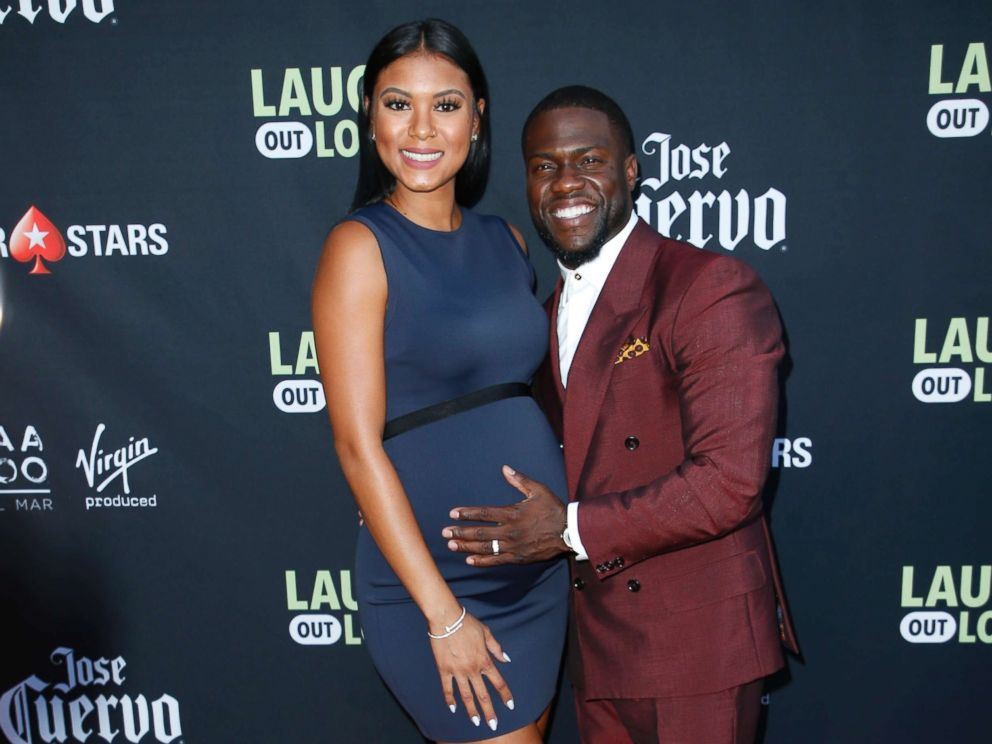 PHOTO: Comedian Kevin Hart and his pregnant wife, Eniko, pose at Kevin Harts Laugh Out Loud new streaming video network launch event at the Goldstein Residence in Beverly Hills, Aug. 3, 2017.