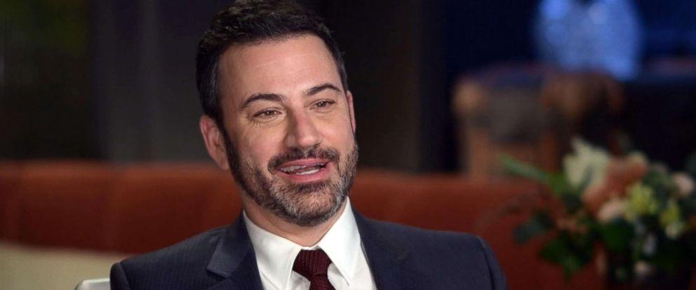 "PHOTO: Jimmy Kimmel speaks with Paula Faris on ""Good Morning America."""