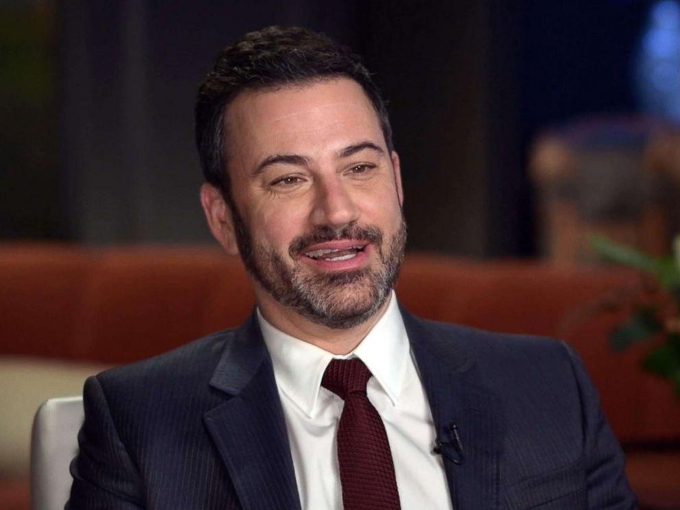 PHOTO: Jimmy Kimmel speaks with Paula Faris on Good Morning America.