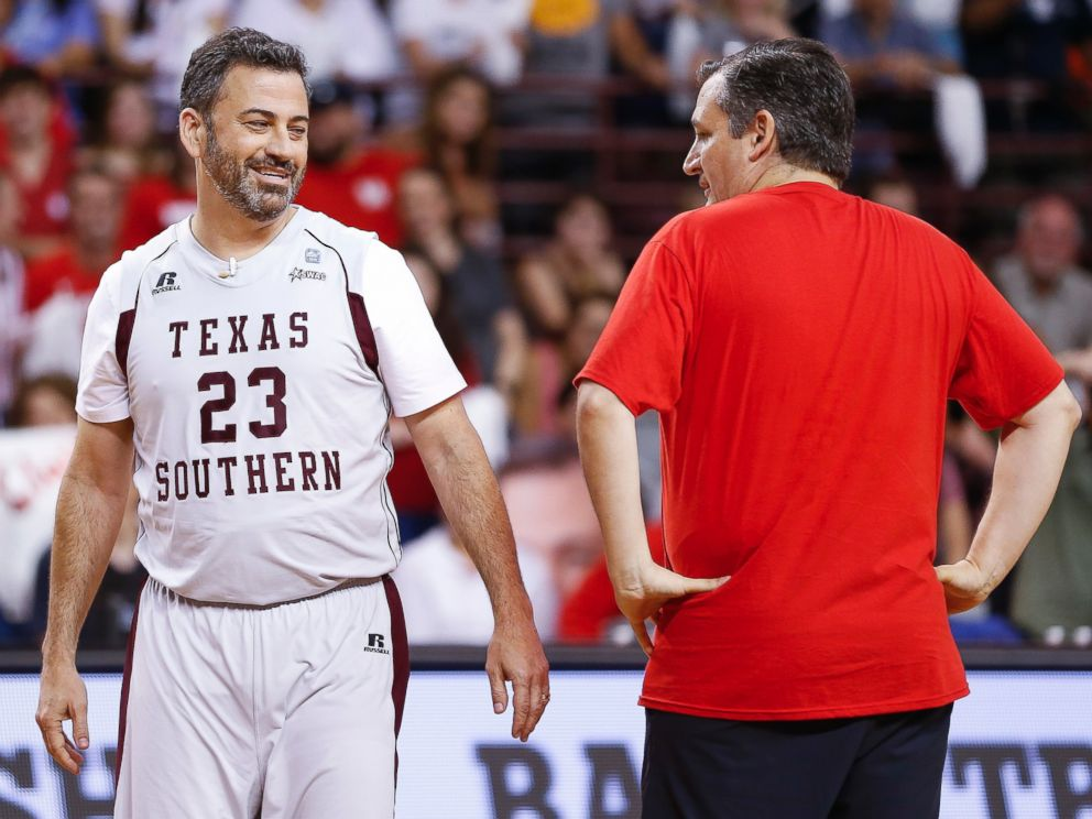 Jimmy Kimmel and Sen. Ted Cruz face off during the Blobfish Basketball Classic and one-on-one interview at Texas Southern Universitys Health & Physical Education Arena Saturday, June 16, 2018 in Houston.