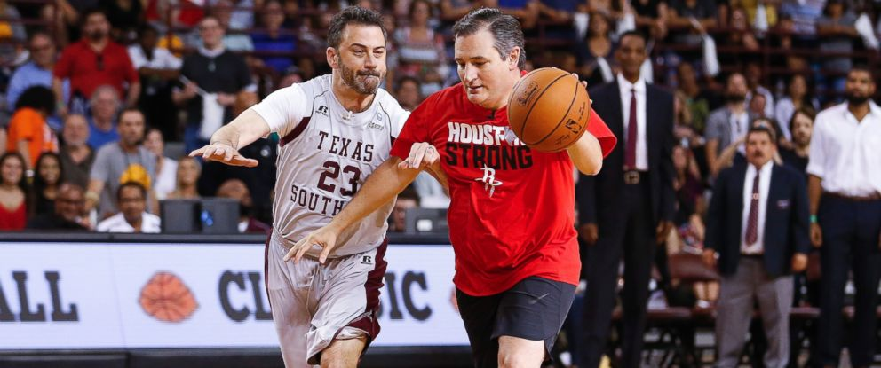 Senator Ted Cruz dribbles past Jimmy Kimmel during the Blobfish Basketball Classic and one-on-one interview at Texas Southern Universitys Health & Physical Education Arena Saturday, June 16, 2018 in Houston.