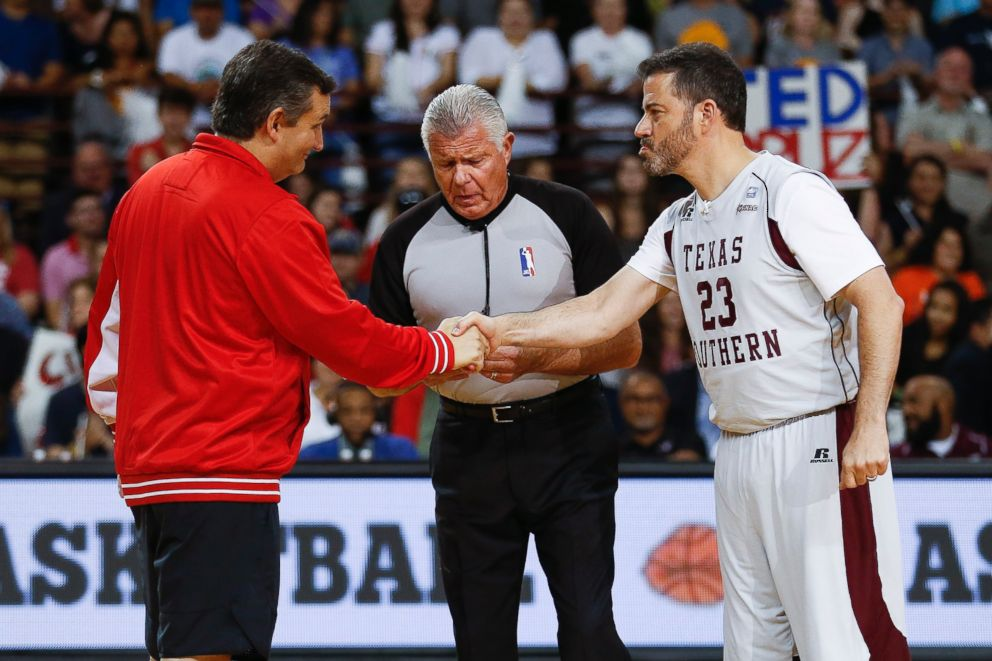 Sen. Ted Cruz and Jimmy Kimmel shake hands before the Blobfish Basketball Classic and one-on-one interview at Texas Southern Universitys Health & Physical Education Arena Saturday, June 16, 2018 in Houston.