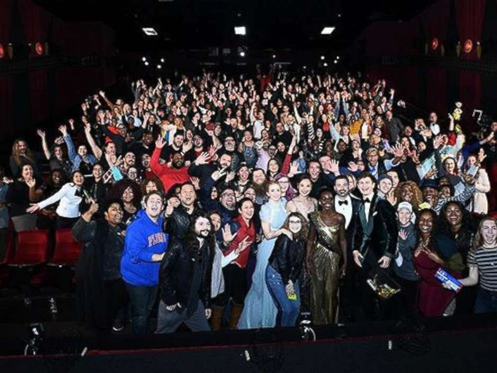 PHOTO: An audience at a movie theater nearby gets a surprise visit from Oscar host Jimmy Kimmel and other actors and actresses, March 4, 2018, in Los Angeles.