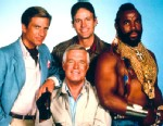 "PHOTO: Dirk Benedict, Dwight Schultz, Mr. T and George Peppard starred in ""The A-Team."""