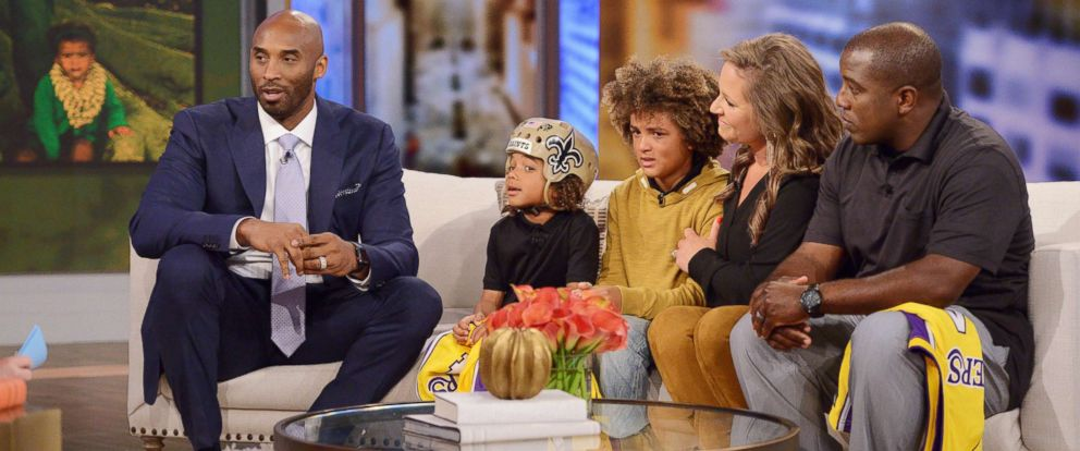 "PHOTO: The Thompson family joined ""The View"" to discuss how they are giving back to the organization that helped 6-year-old Bryson receive care for his epilepsy - and get a surprise from five-time NBA champion Kobe Bryant."