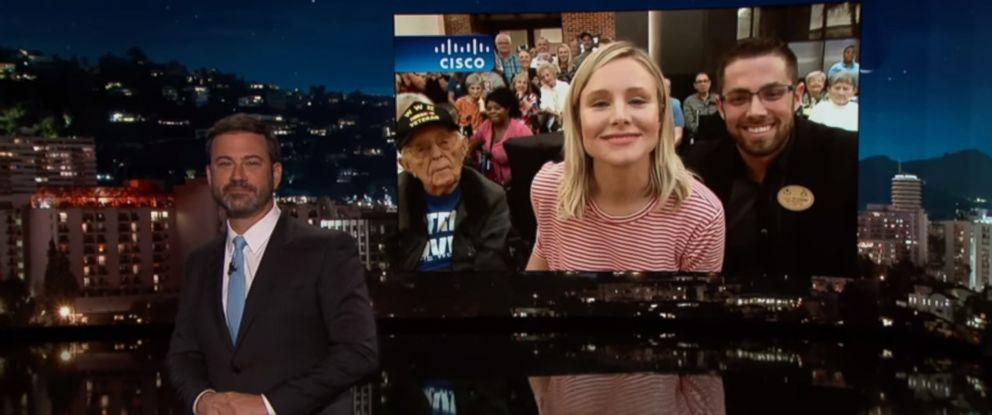 """PHOTO: Kristen Bell appeared live from Florida on """"Jimmy Kimmel Live!"""" Sept 11, 2017."""