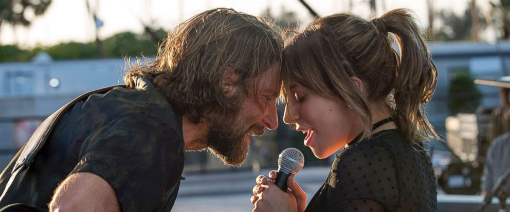 "PHOTO: Bradley Cooper and Lady Gaga in the drama ""A Star is Born,"" from Warner Bros. Pictures."