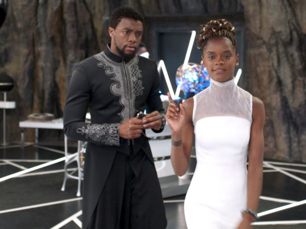 PHOTO: Chadwick Boseman and Letitia Wright in a scene from Black Panther.