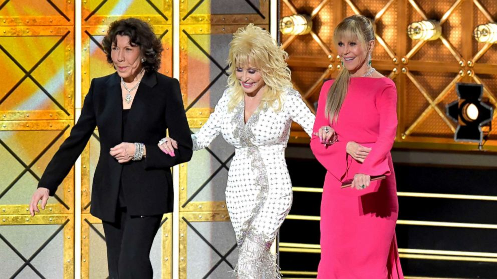 Actors  Lily Tomlin, Dolly Parton, and Jane Fonda speak onstage during the 69th Annual Primetime Emmy Awards at Microsoft Theater, Sept. 17, 2017, in Los Angeles.