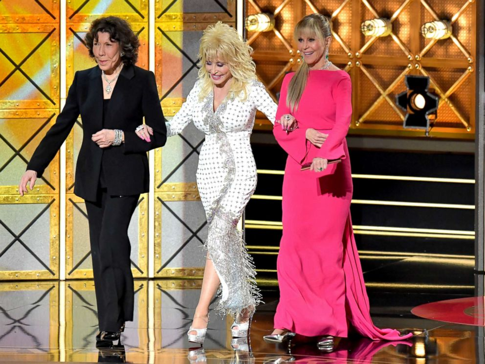 PHOTO: Actors Lily Tomlin, Dolly Parton, and Jane Fonda speak onstage during the 69th Annual Primetime Emmy Awards at Microsoft Theater, Sept. 17, 2017, in Los Angeles.