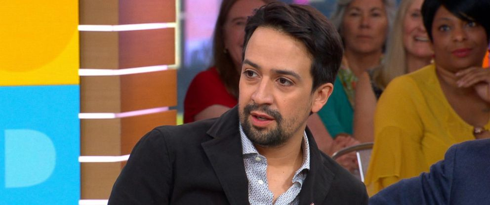 "PHOTO: Lin-Manuel Miranda appears on ""Good Morning America,"" Oct. 6, 2017, to discuss his new song, ""Almost Like Praying,"" to support hurricane relief in Puerto Rico."