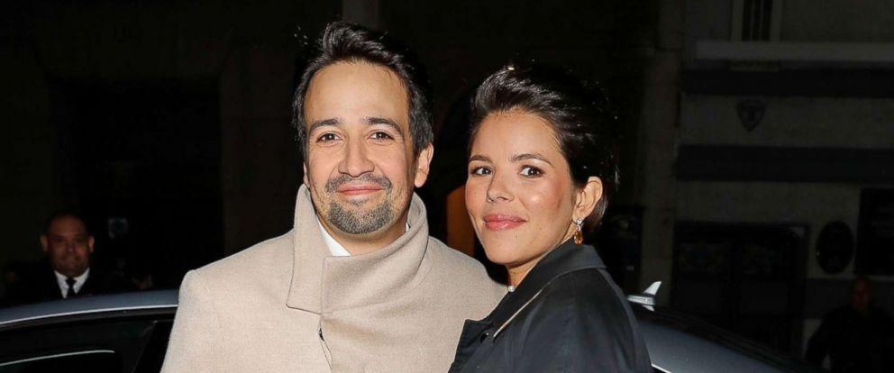 PHOTO: Lin-Manuel Miranda and his wife, Vanessa Nadal, arrive for an event at the Theatre Royal, Dec. 3, 2017 in London.