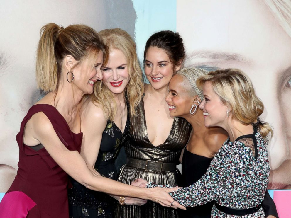 PHOTO: (L-R) Laura Dern, Nicole Kidman, Shailene Woodley, Zoe Kravitz, and Reese Witherspoon attend the premiere of HBOs Big Little Lies at TCL Chinese Theater, Feb. 7, 2017 in Hollywood, Calif.