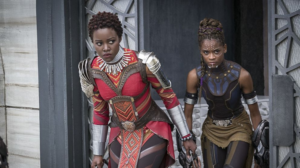 """Lupita Nyong'o and Letitia Wright in """"Black Panther,"""" 2018."""