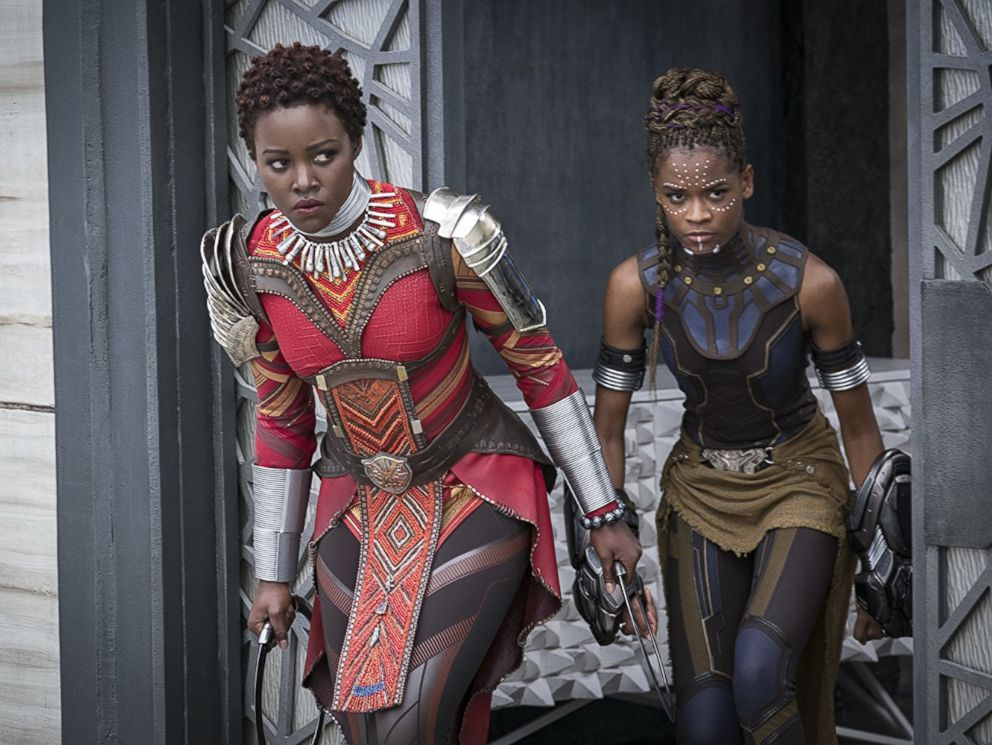 PHOTO: Lupita Nyongo and Letitia Wright in Black Panther, 2018.