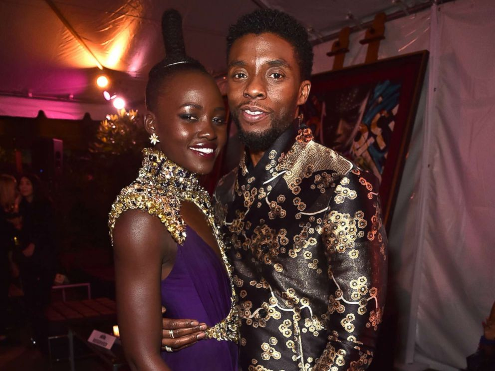 PHOTO: Lupita Nyongo (L) and Chadwick Boseman at the Los Angeles World Premiere of Marvel Studios Black Panther at Dolby Theater, Jan. 29, 2018 in Hollywood, Calif.