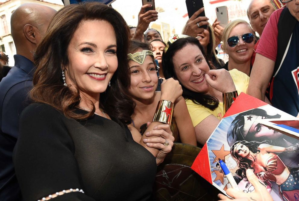 PHOTO: Lynda Carter, star of the television series Wonder Woman, signs autographs following a ceremony honoring her with a star on the Hollywood Walk of Fame, April 3, 2018, in Los Angeles.