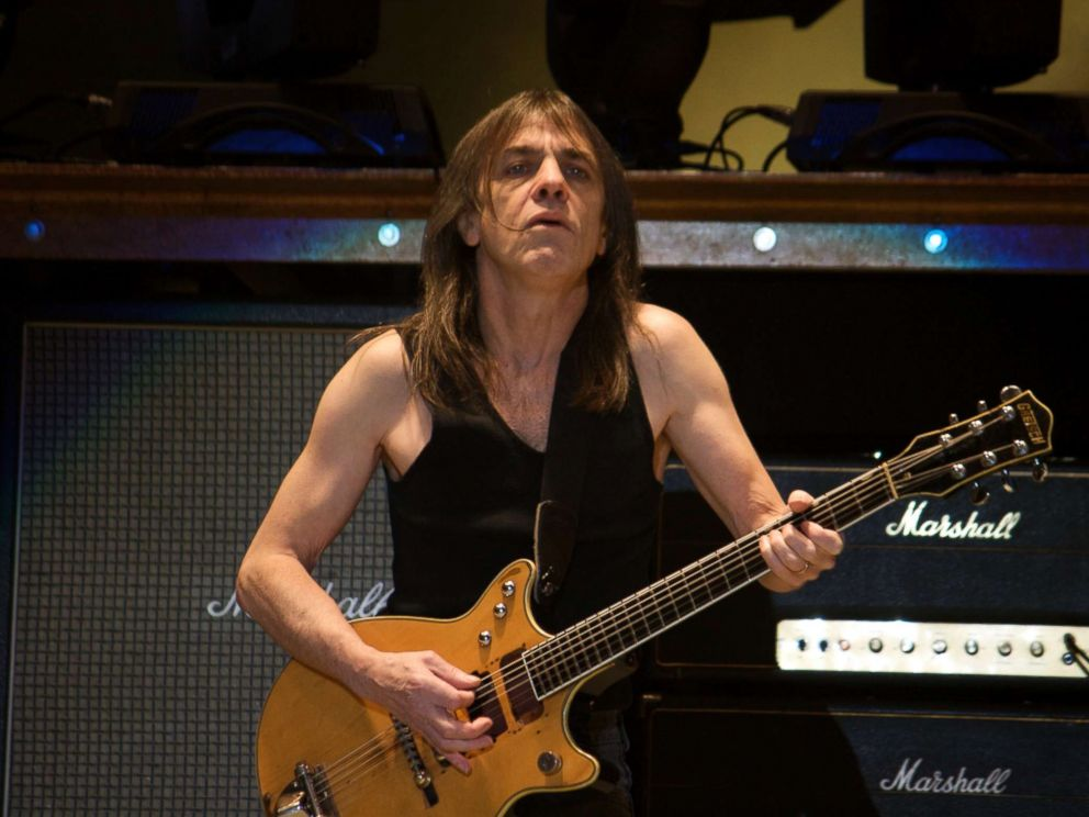PHOTO: Guitarist Malcolm Young of the rock band AC/DC performs at the Rogers Center in Toronto, Jan. 9, 2009.
