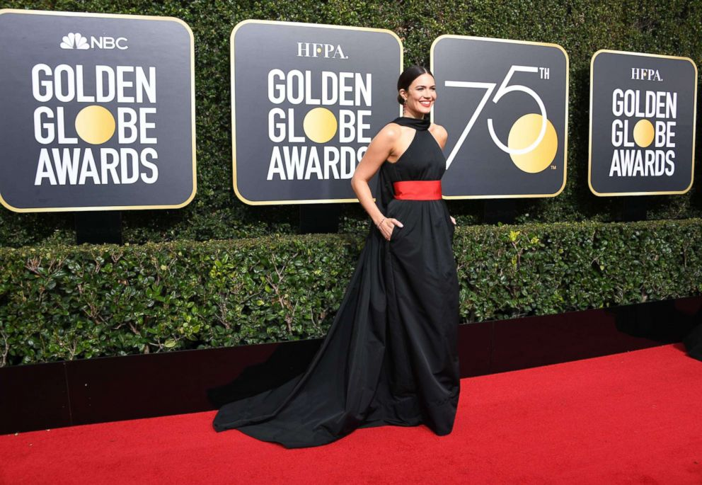PHOTO: Mandy Moore arrives for the 75th Golden Globe Awards, Jan. 7, 2018, in Beverly Hills, Calif.