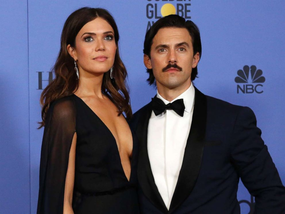 PHOTO: Mandy Moore and Milo Ventimiglia pose after presenting an award during the 74th Golden Globe Awards in Beverly Hills, Calif., Jan. 8, 2017.
