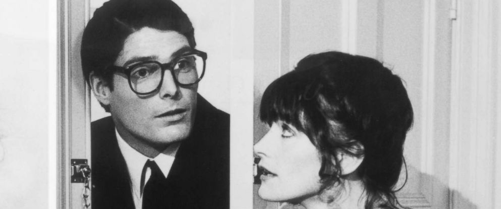 "PHOTO: Christopher Reeve as Superman, left, and as Clark Kent, right, with Lois Lane, played by Margot Kidder, in the 1978 film ""Superman: The Movie."""