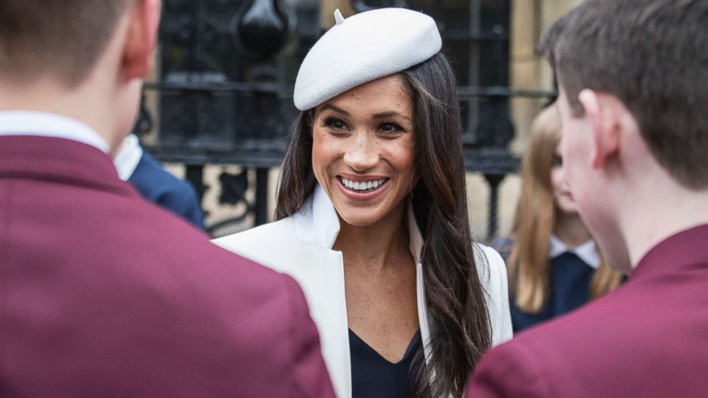 Meghan Markle meets well-wishers in the Dean's yard, after the Commonwealth Service at Westminster Abbey in London, March 12, 2018.