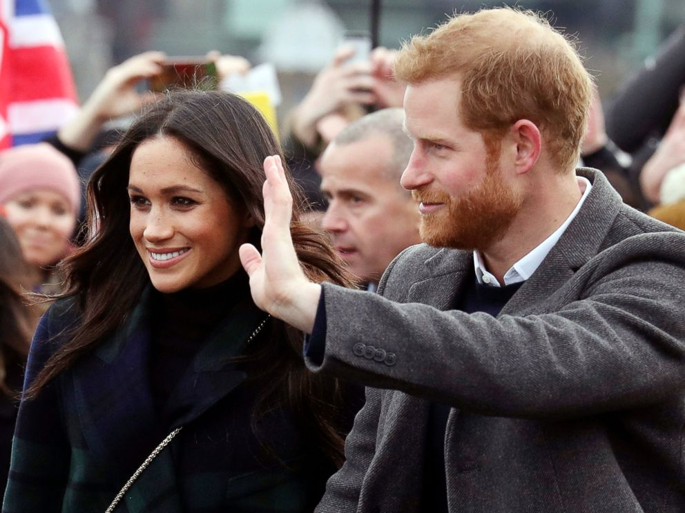 PHOTO: Meghan Markle and Britains Prince Harry on the esplanade at Edinburgh Castle in Scotland, Feb. 13, 2018.