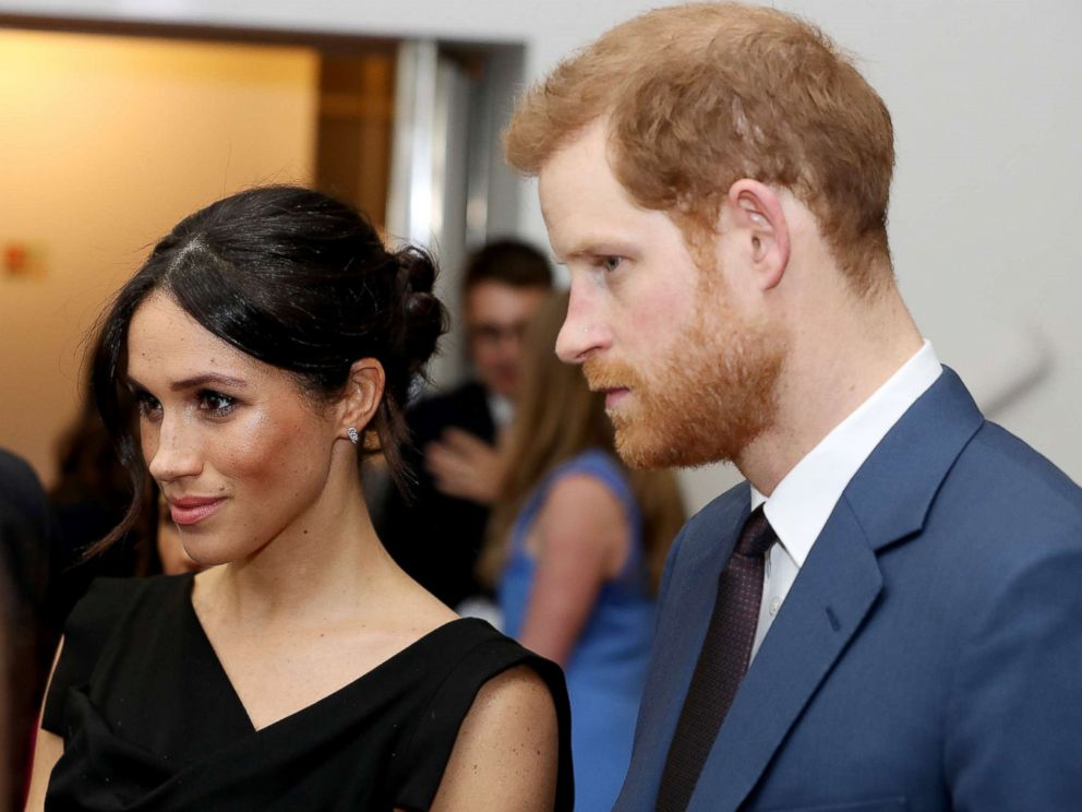 PHOTO: Meghan Markle and Prince Harry speaks they attend the Womens Empowerment reception at the Royal Aeronautical Society, April 19, 2018, in London.