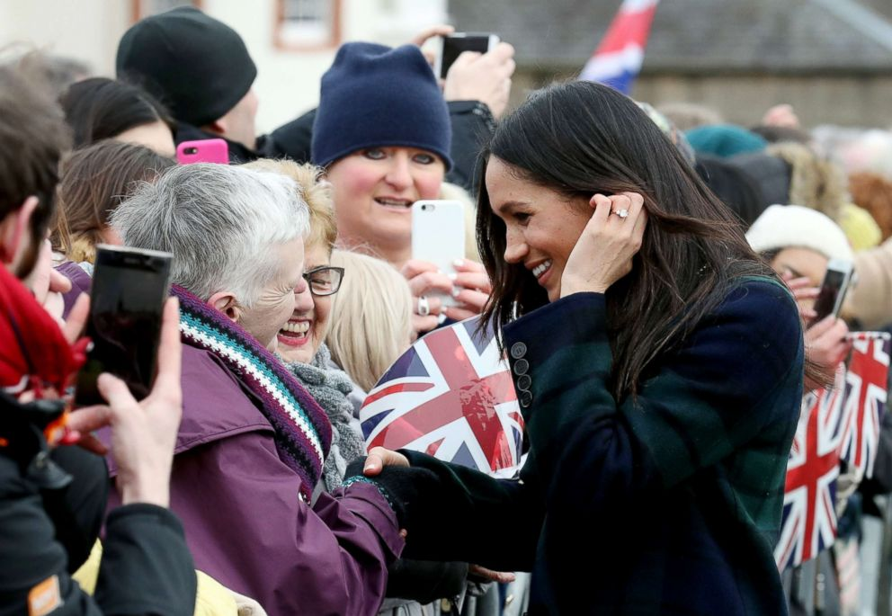 PHOTO: Meghan Markle meets well wishers on the esplanade at Edinburgh Castle with Prince Harry on Feb 13, 2018 in Edinburgh, Scotland.