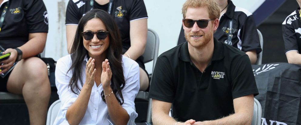 PHOTO: Meghan Markle and Prince Harry attend a Wheelchair Tennis match during the Invictus Games 2017 at Nathan Philips Square, Sept. 25, 2017, in Toronto.