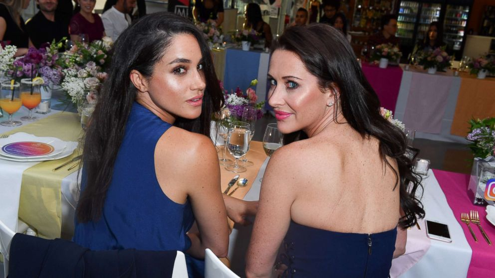 Meghan Markle and Jessica Mulroney attend the Instagram Dinner held at the MARS Discovery District, May 31, 2016, in Toronto, Canada.