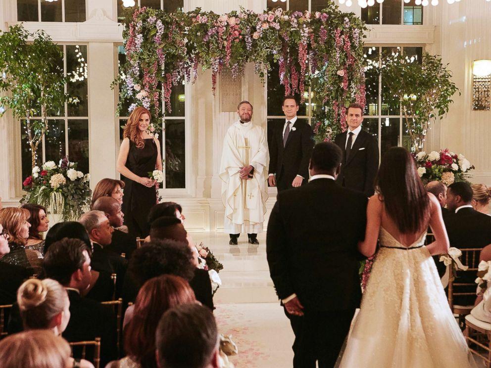Ian Watson  USA Network Meghan Markle walks down the aisle on the season finale of