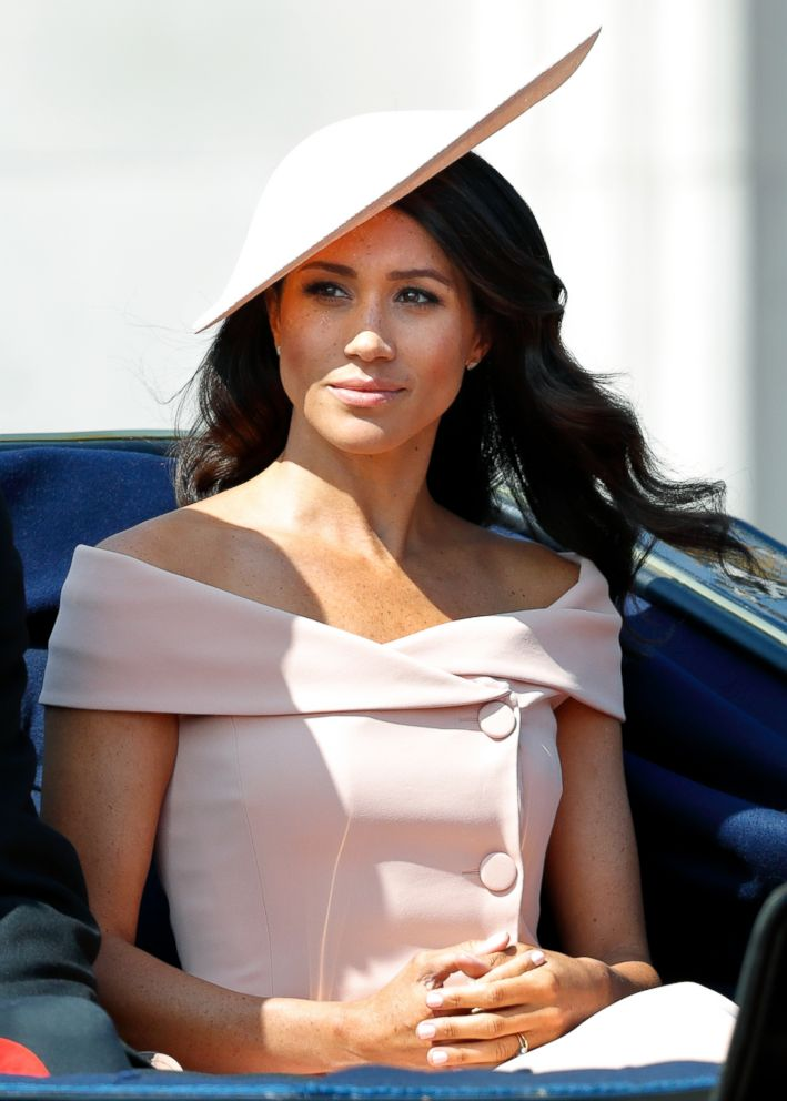 Meghan, Duchess of Sussex travels down The Mall in a horse drawn carriage during Trooping The Colour 2018, June 9, 2018, in London.