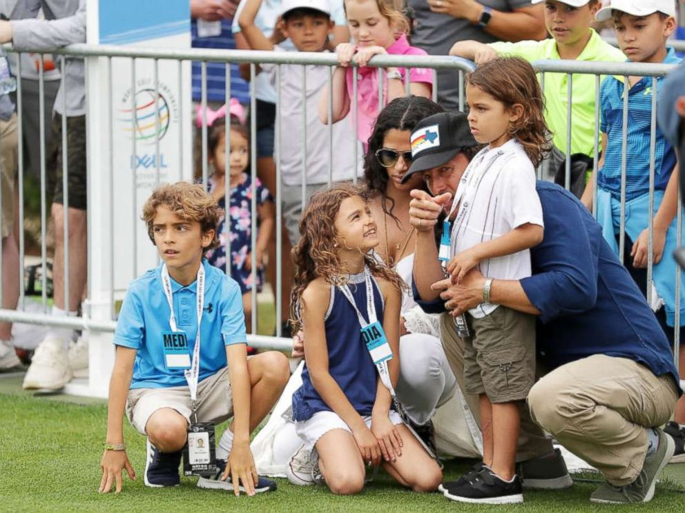 PHOTO: Matthew McConaughey, Camila Alves and their children Levi, Vida and Livingston attend the final round of the World Golf Championships-Dell Match Play at Austin Country Club on March 25, 2018 in Austin.