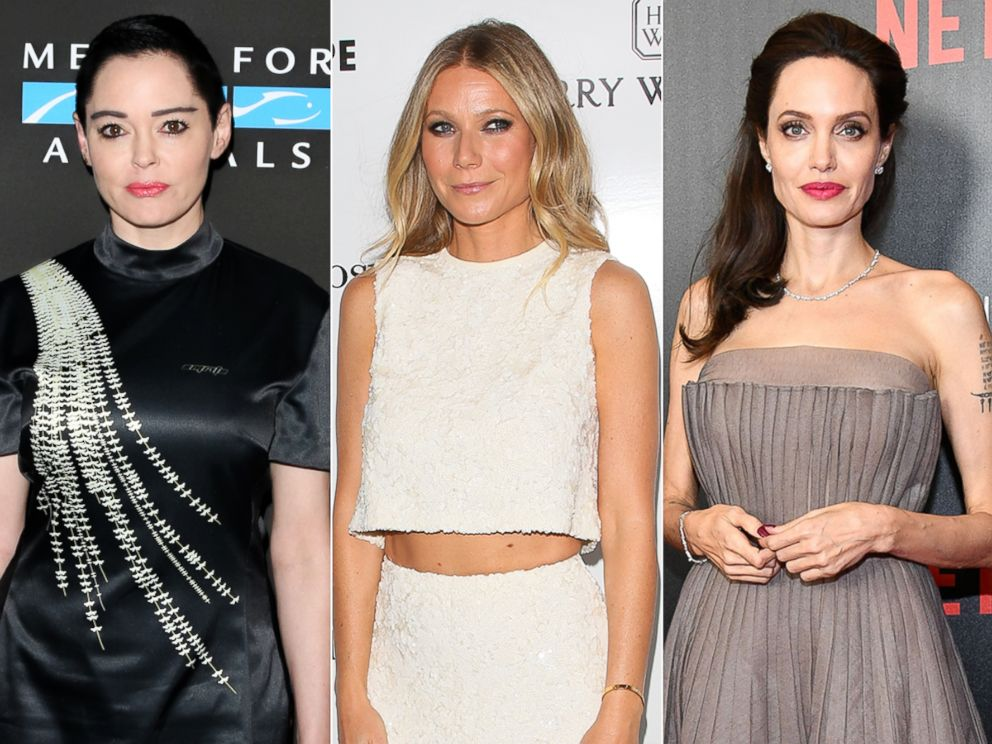 PHOTO: Rose McGowan, Sept. 23, 2017, in Los Angeles | Gwyneth Paltrow, May 6, 2017, in Culver City, Calif. | Angelina Jolie, Sept. 14, 2017, in New York City.
