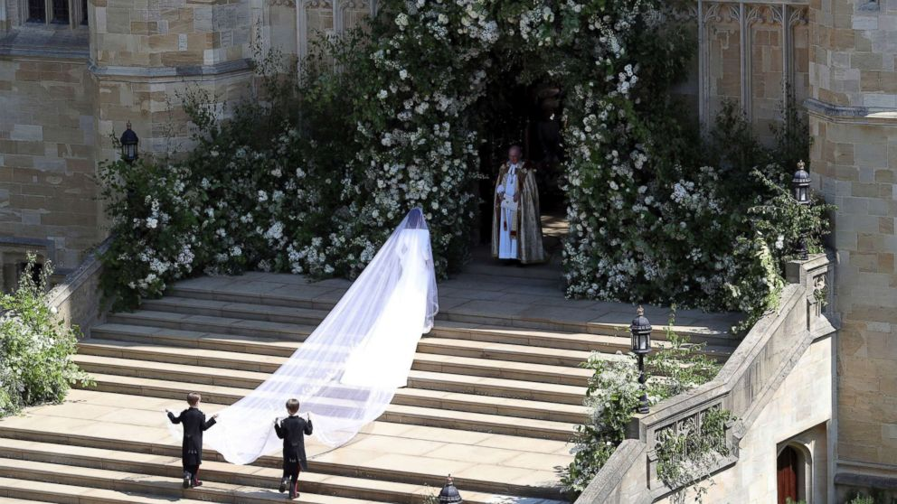 Meghan Markle arrives for the wedding ceremony of Prince Harry and Meghan Markle at St. George's Chapel in Windsor Castle in Windsor, May 19, 2018.