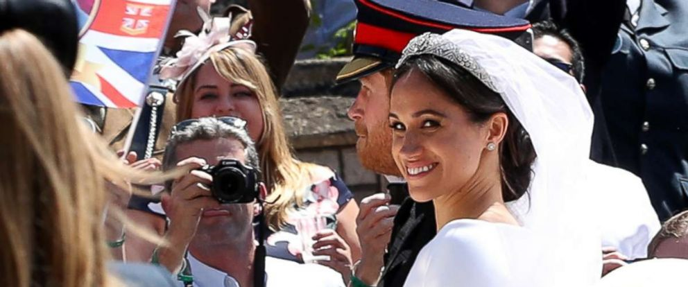 PHOTO: Prince Harry and Meghan Markle leave St Georges Chapel in Windsor Castle after their wedding, May 19, 2018.